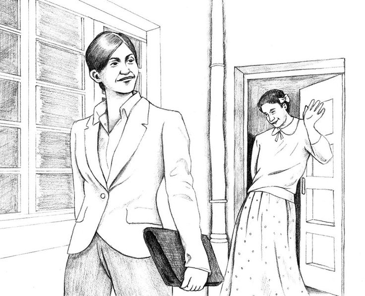 Househusband waving goodbye (old version 2)