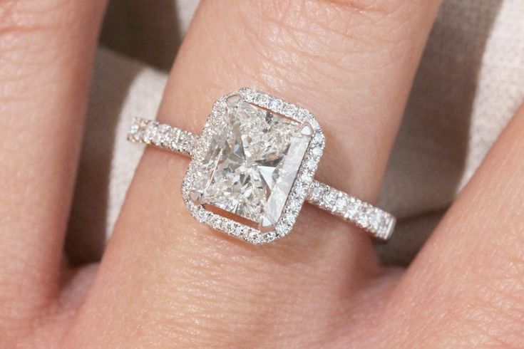 1.75 ct Radiant Cut Halo Engagement Ring – Juliette Collection - Radiant cut diamond