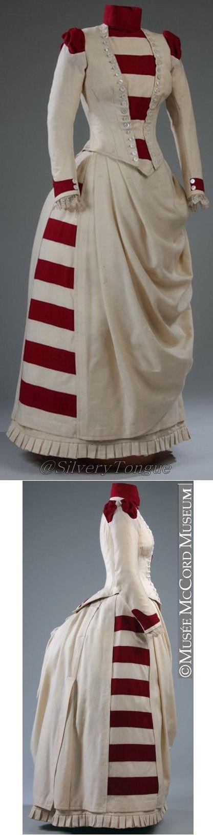 red & white striped 1880s ensemble. http://thedreamstress.com/2017/03/rate-the-dress-a-red-white-striped-1880s-ensemble/