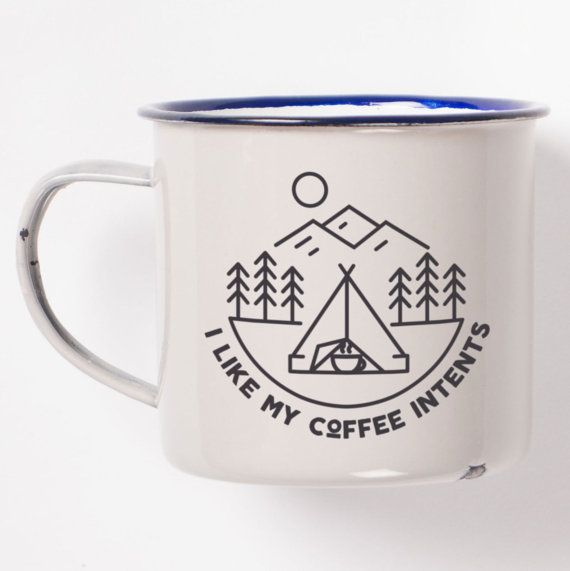 In this enamel mug, all good things come together. Camping, coffee, retro design, and an awesome pun, all on one little cylinder of iron and enamel. How