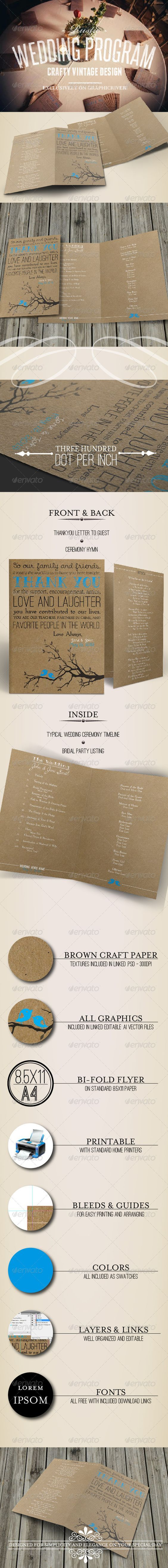 This is a beautiful, DIY, customizable wedding program template with a rustic theme.  I used this for my own wedding ~ it is $5!!!  Print it at home on your own printer.
