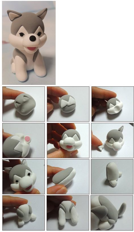 How to make a Husky dog in fondant