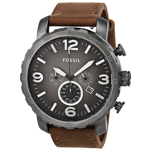 Fossil Nate Chronograph Brown Leather Men's Watch JR1424 - 50 mm