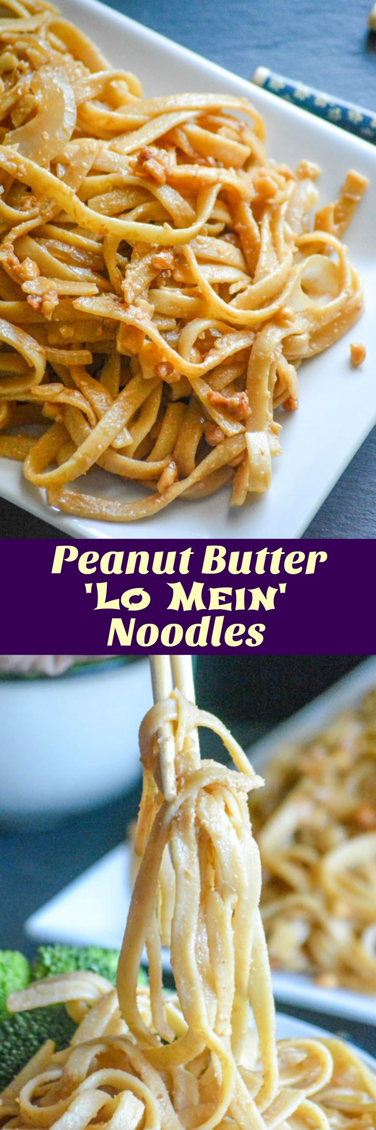 A quick & easy pasta dinner, don't shy away at this seemingly odd combination of pasta & peanut butter. These Asian Peanut Butter 'Lo Mein' Noodles are a fun food you can serve for lunch or dinner, that'll win the approval of both kids and adults.