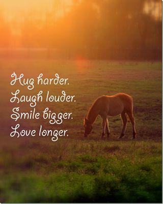 Hug harder. Laugh louder. Smile bigger. Love longer. #HorseQuote