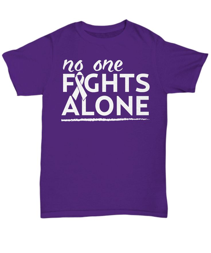 "Take a stand with this Lung Cancer Awareness item with ""No One Fights Alone"" quote/saying and white ribbon image. Together we will win."