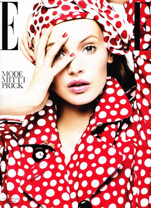 Elle Magazine Louis Vuitton Red Polka Dot Trench Coat