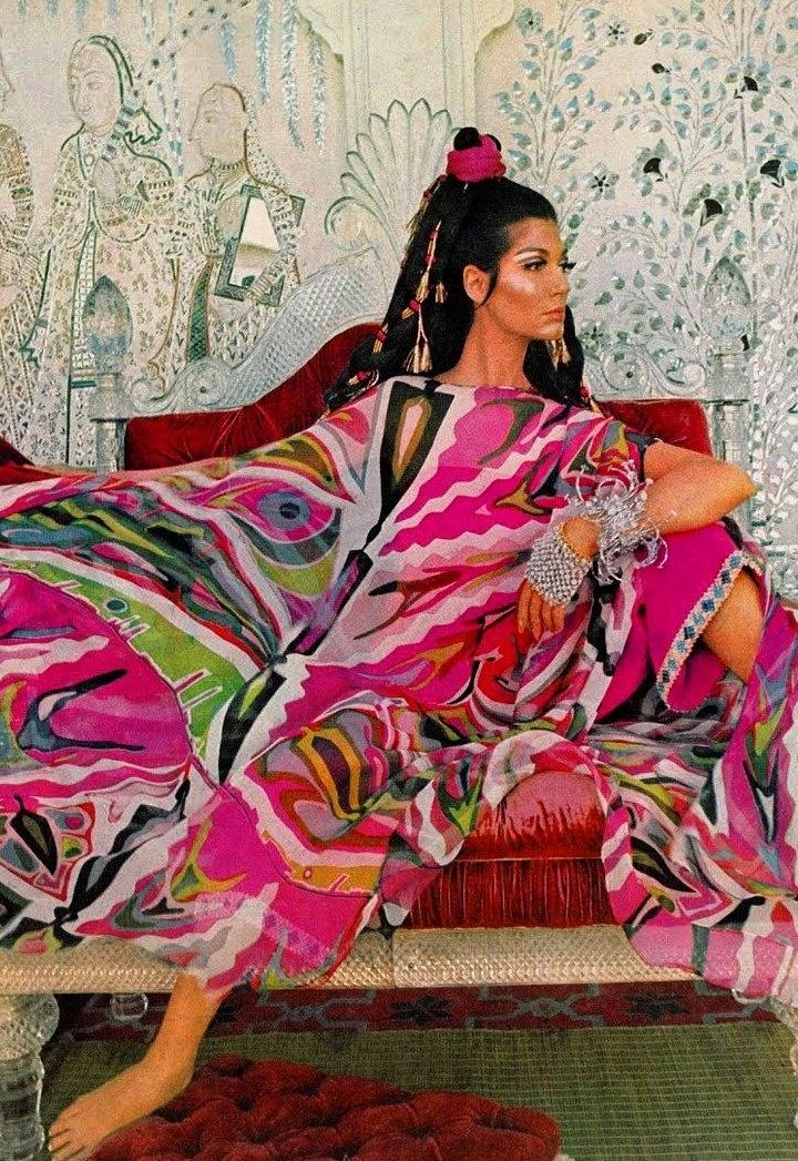Model Simone D'Aillencourt wearing Pucci, 1967.