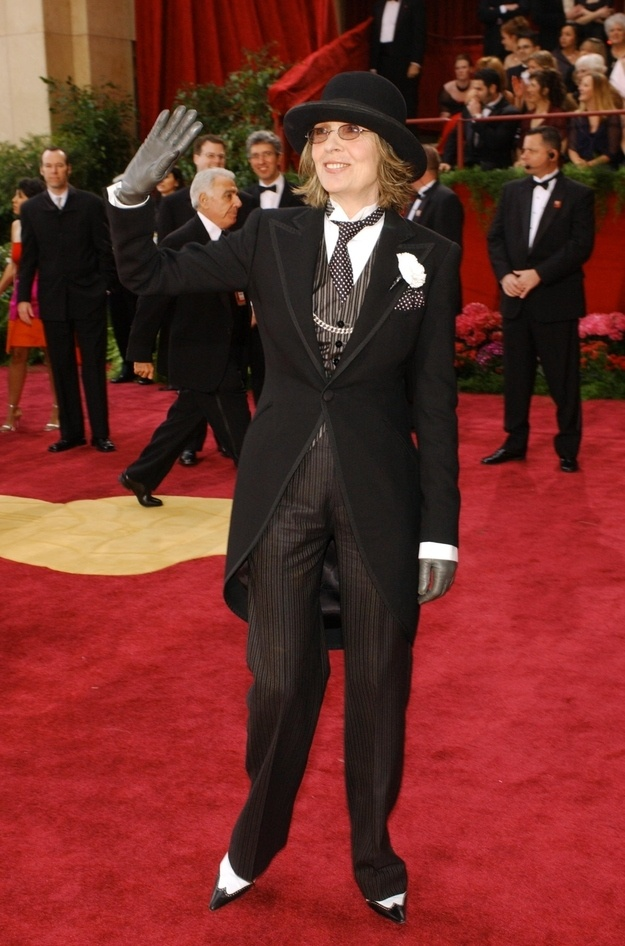 Diane Keaton as Charlie Chaplin (2004)   The 16 Craziest Oscar Fashion Moments Of AllTime