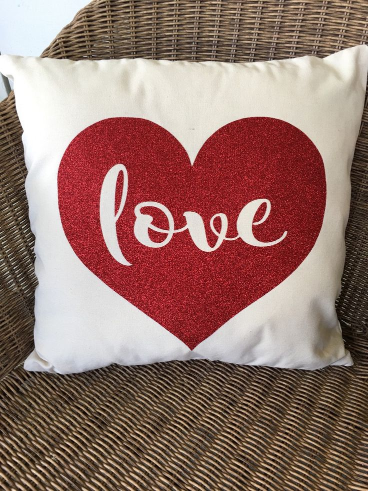 Love Heart Glitter Pillow / Valentine pillow cover by thevintagesoul1 on Etsy