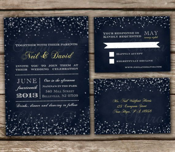 Midnight Blue Wedding Invitation & RSVP Postcards DIY by chitrap, $38.00