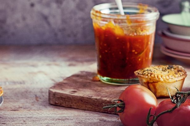 Keep this delicious tomato relish in the fridge to add flavour to Aussies pies, hotdogs and burgers.