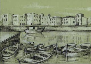 Rosângela Vig Arte com lápis e em telas : Barcos, lápis branco e lápis preto sobre papel ver...