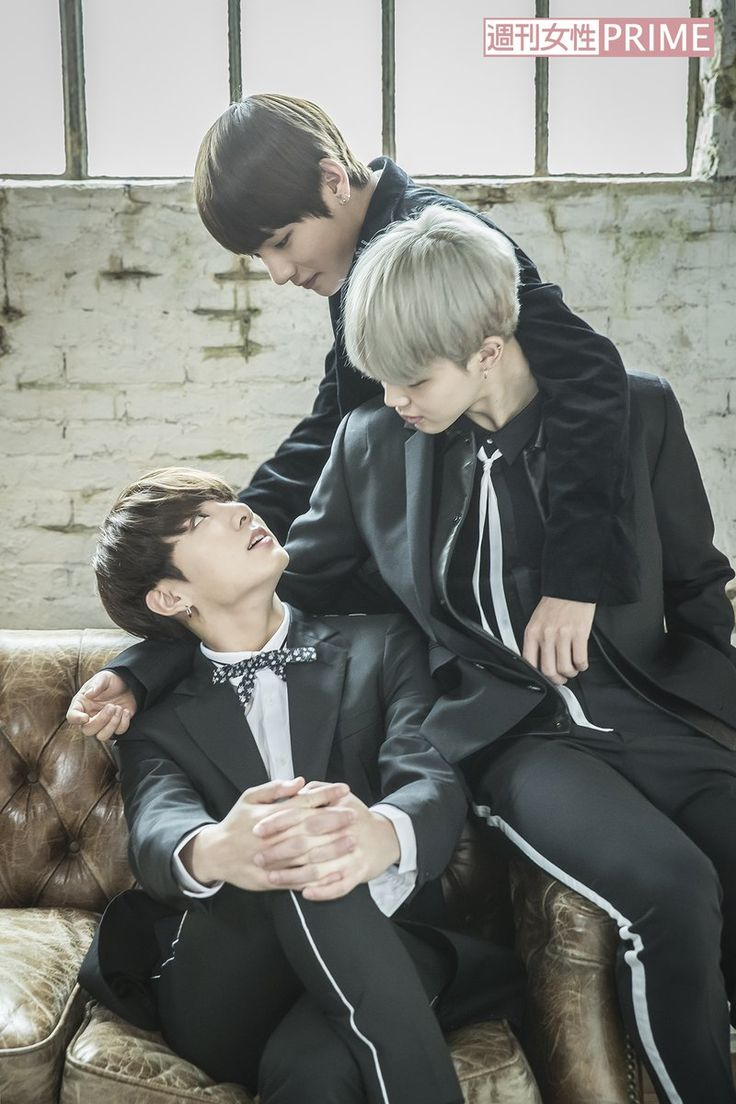 it's actually a love triangle< You see, jimin is looking down at kookie, who is looking up at tae who is looking down at kookie, leaving jimin on his own.