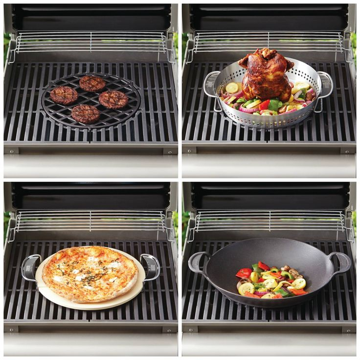 With the Weber Spirit Gourmet BBQ System you'll be making more than just burgers. Accessories are available to allow you to stir fry on your grill, roast a chicken, make pizza... and more.