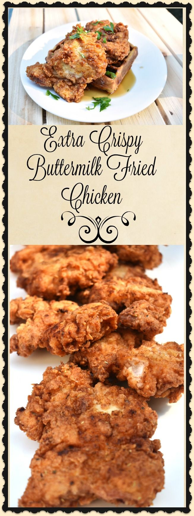 Extra Crispy Buttermilk Fried Chicken is the king of all comfort foods. The combination of crisp, crunchy, breading and moist, juicy, meat is the culinary equivalent of a hug from your grandmother. This recipe is perfect for a Saturday afternoon picnic, served with waffles for brunch, or for a classic Sunday dinner. Whenever you decide to eat it, I'm sure you'll love it.