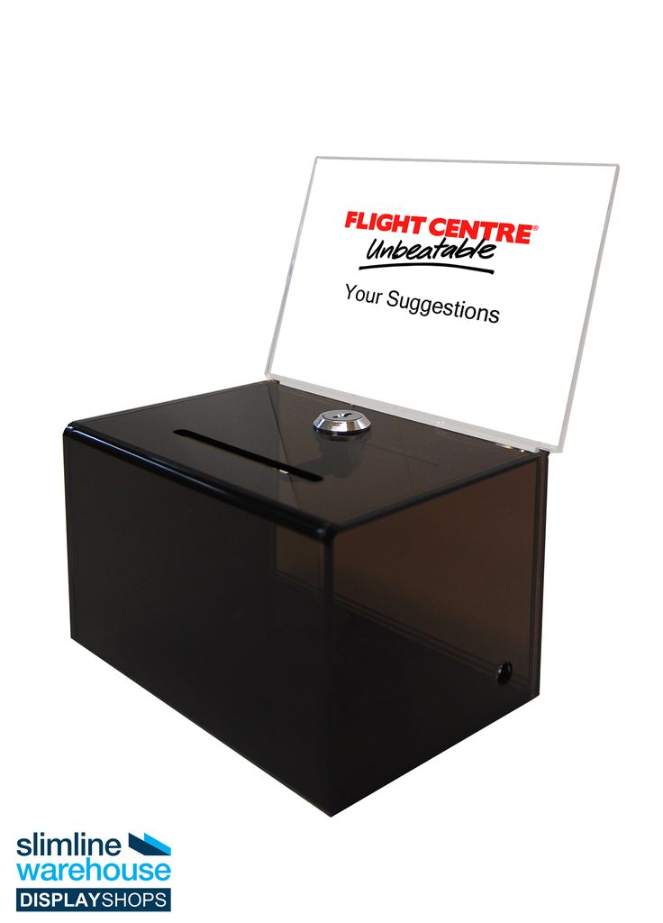 Acrylic Lock Box with A6 Header- This acrylic lock box helps you to collect suggestions, ideas, donations, and ballots in different locations. The plastic display boxes are popular in exhibition halls, universities, museums, casinos, hotels, cafes, restaurants, churches, and more to easily collect information from passersby in an attractive manner.