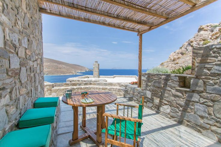House in Serifos, Greece. ASPES VILLAS | Villa Prassini: Breathtaking view, near Psili Ammos beach (award winning beach 2003) 3 beautiful independent villas built on the rock, perfectly in tune with the environment, with an exclusive view of the unique blue of the Agean se...