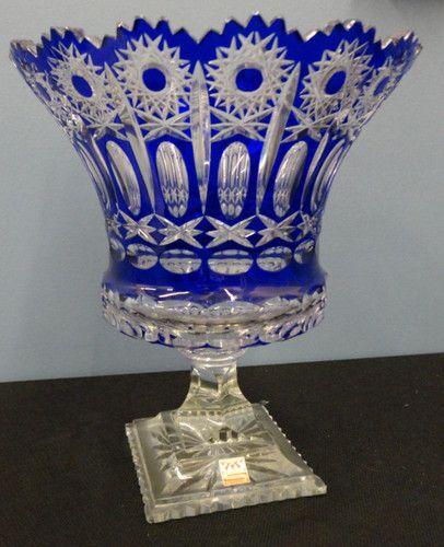 Váza * modré broušené sklo * Bohemia ♥