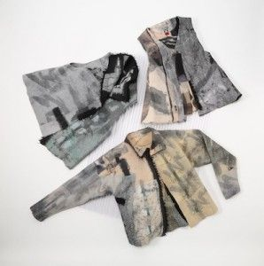 Original felt vest with inlaid Sumi ink dyed silk fabric, novelty yarns simple vests workshop Calgary, Alberta.