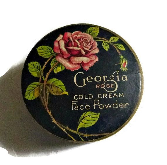 30's Art Deco Georgia Rose Powder Box Tin by PopcornVintageByTann