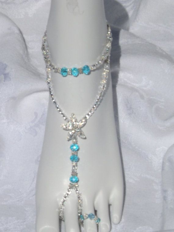 Blue Crystal Rhinestone Starfish Foot Jewelry Wedding Starfish Barefoot Sandal Bridesmaid Gift Starfish Jewelry