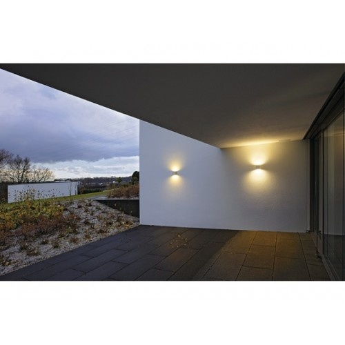 Really light up dark areas with this small cube exterior up and down wall light