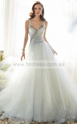 Ball Gown Sleeveless Deep V-neck Zipper Floor-length Wedding Dresses feaf1001--Hodress