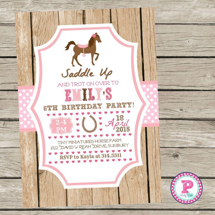 Horse Birthday Party Invitation Pony Party Pink