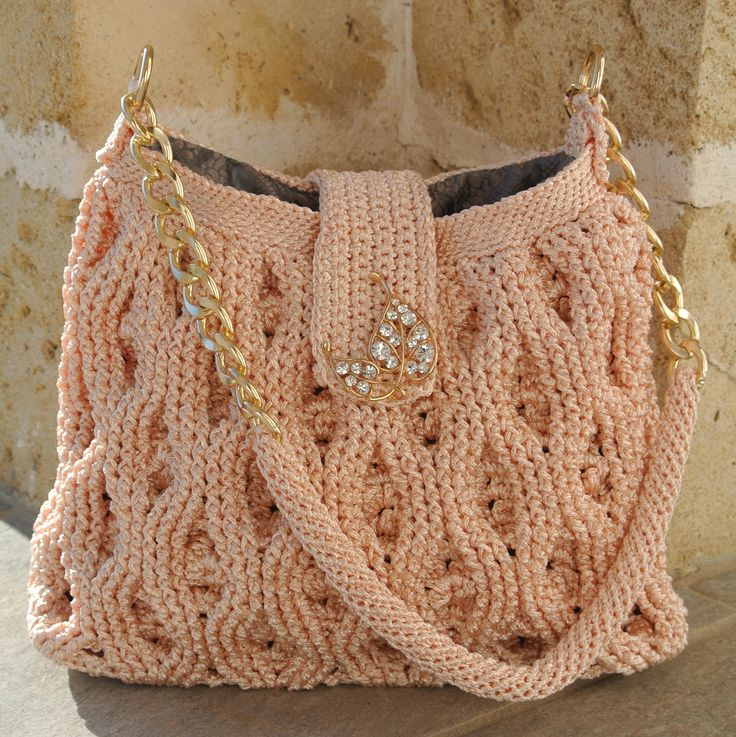 2-Crochet bag rosa pesco, con manico da spalla e poggia spalla crochet, fodera…