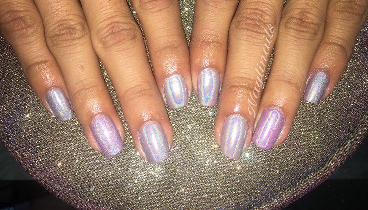 #unicorn #nails #holographic #pink #uñas #holograma #gelnails #gelish