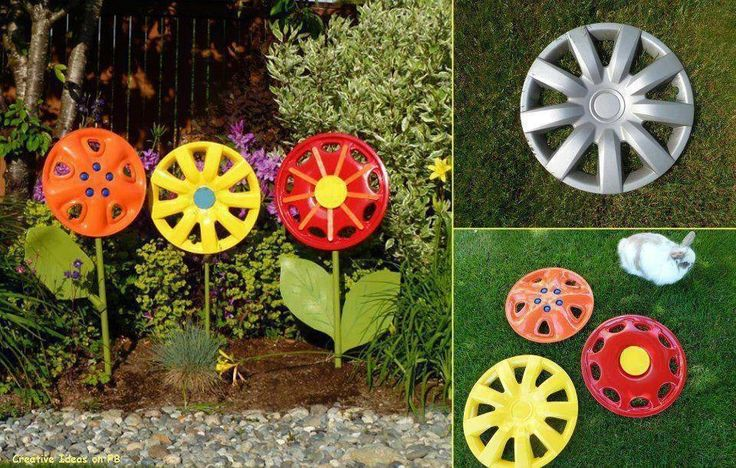 Tire Rim into Garden Flower Ornaments~