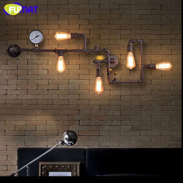 Фумат кованого железа водопровод бра Лофт Винтаж Промышленного Бар Кафе проход Бронзовые Бра огни с E27 edison лампы