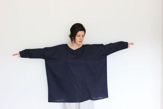 Robe lin femme tunique de maternité lâche robe par linenOnlyDesign