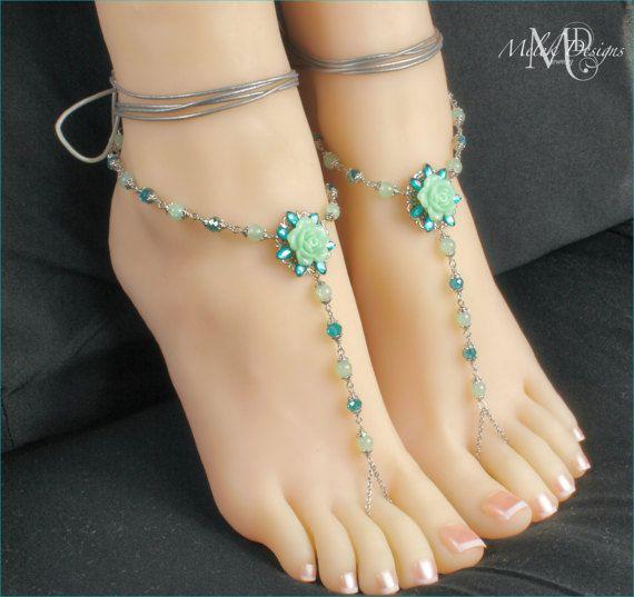 Green Barefoot Sandals Beach Wedding Leather Wrap