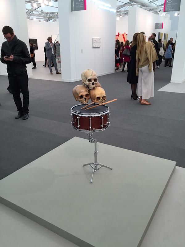 This playing drum with skulls by artist Anri Sala at Marian Goodman certainly got my attention. @FriezeLondon
