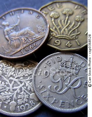 vintage British coins, I remember the thrupney bit a little and the big pennies as my Grandad gave me a jar full to play 'shop' with. The shilling was used as 5p after decimalisation and the sixpence was 2 & 1/2p