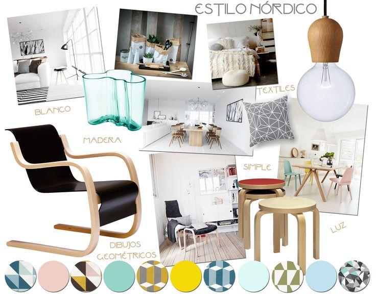 Estilo nórdico. Mucho blanco y tonos pastel. Los diseños son simples. Todo tiene una funcionalidad dentro del espacio. Maderas claras en sus tonos naturales. Estampas geométricas que dan color.