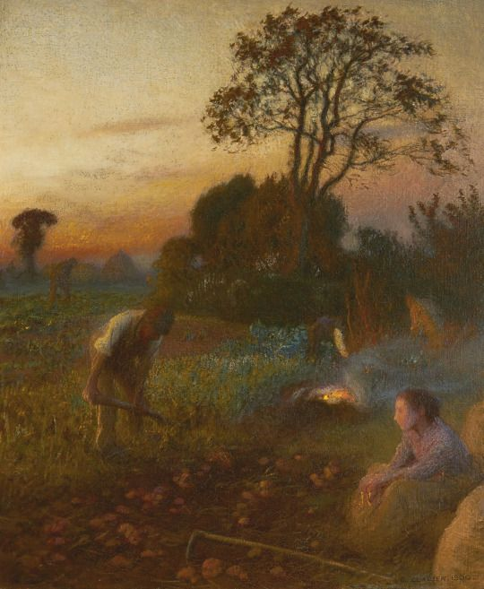 George Clausen (1852-1944)   The Potato Patch: October Twilight. Around 1900