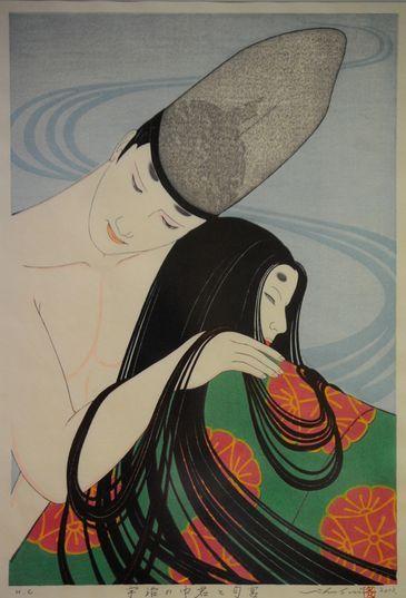 "Artist completes his life project--Genji's world in 12 ukiyo-e prints - ""Uji no Nakanokimi to Nioumiya"" (Provided by Shusui Taki)"