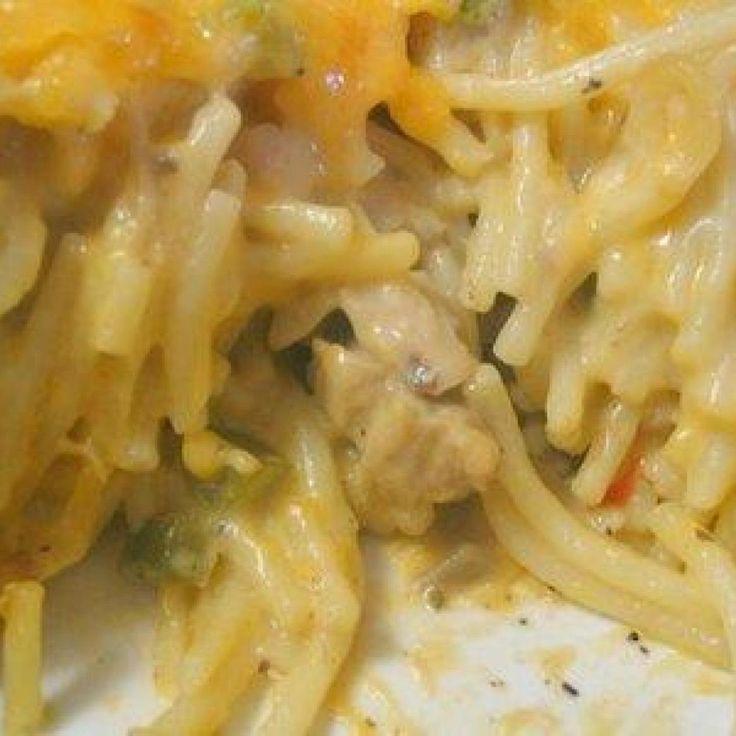 Chicken Spaghetti Casserole It's also a great recipe to make when you have left over rotissery chicken.
