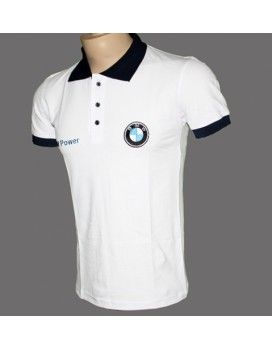 BMW White T-Shirt With Collar Licra with embroidered logos from http://autofanstore.com
