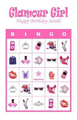 Diva/Glamour Girl/Slumber Birthday Party Game Bingo                                                                                                                                                                                 More