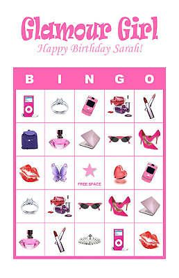 Diva/Glamour Girl/Slumber Birthday Party Game Bingo