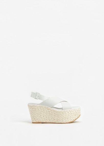 Leren sandalen met plateauzolen