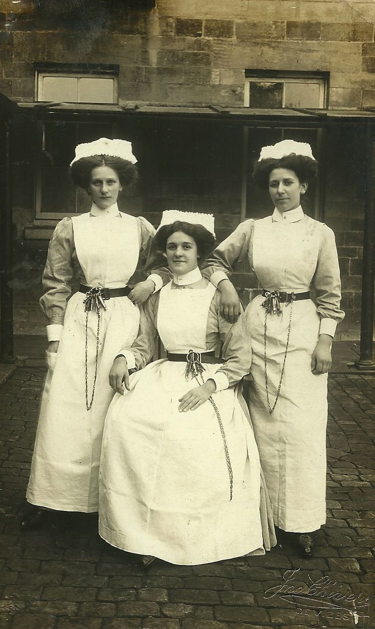 Three Asylum nurses Devizes.Note the leather belts with key chains and whistles.
