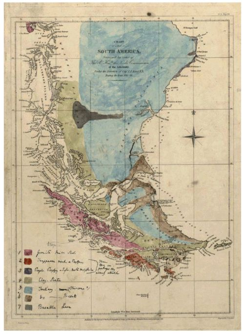 first geological map of patagonia drawn and colour-painted by charles darwin, c1840.