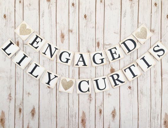Engagement banner, engaged banner, engaged name banner,couples name banner, couples name engaged banner, wedding decor,engagement banner set