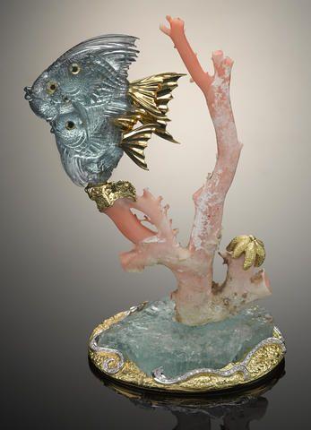 Gem Aquamarine Fish on Coral, Gold, Diamond, and Aquamarine Base