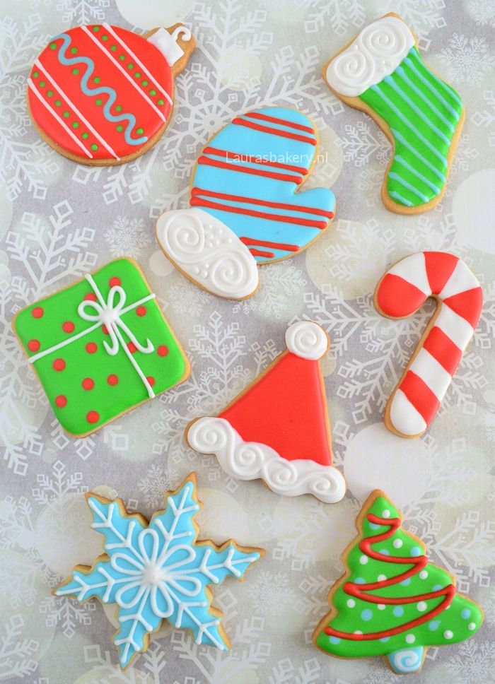 Set of christmas cookies, 4 icing colors, 8 cookies - Kerstkoekjes set - 8 koekjes, 4 kleuren icing - Laura's Bakery